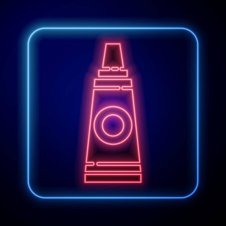 Glowing neon Tube with paint palette icon isolated on blue background. Vector Illustration