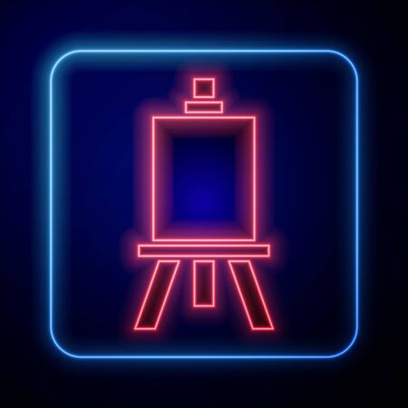 Glowing neon Wood easel or painting art boards icon isolated on blue background. Vector Illustration