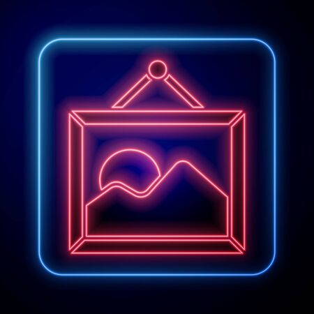 Glowing neon Picture landscape icon isolated on blue background. Vector Illustration Banque d'images - 140121208