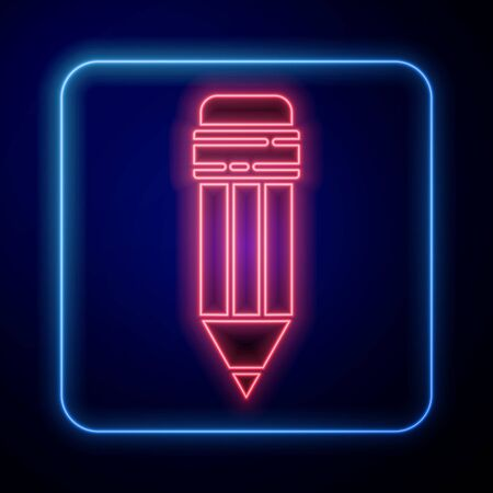 Glowing neon Pencil with eraser icon isolated on blue background. Drawing and educational tools. School office symbol. Vector Illustration