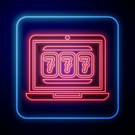 Glowing neon Laptop and slot machine with lucky sevens jackpot icon isolated on blue background. Online casino. Vector Illustration Stock Illustratie