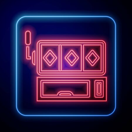 Glowing neon Slot machine icon isolated on blue background. Vector Illustration