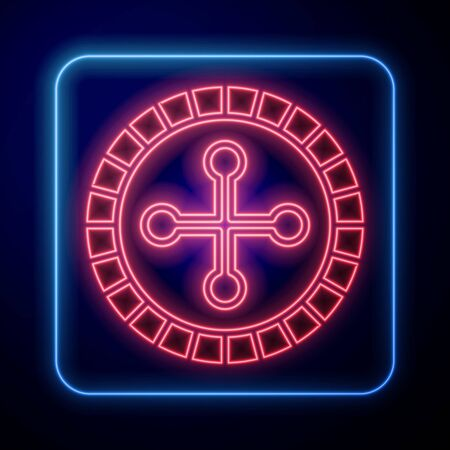 Glowing neon Casino roulette wheel icon isolated on blue background. Vector Illustration