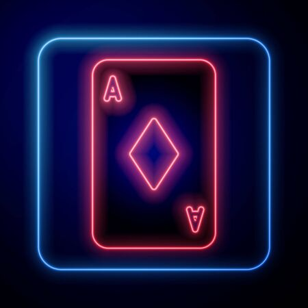 Glowing neon Playing card with diamonds symbol icon isolated on blue background. Casino gambling. Vector Illustration