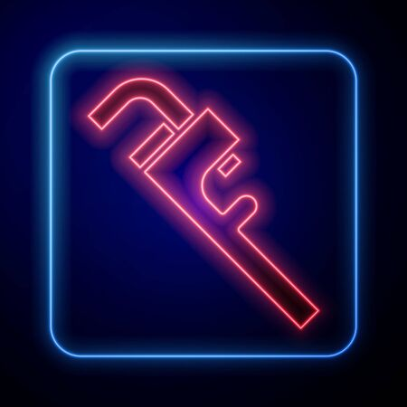 Glowing neon Pipe adjustable wrench icon isolated on blue background. Vector Illustration