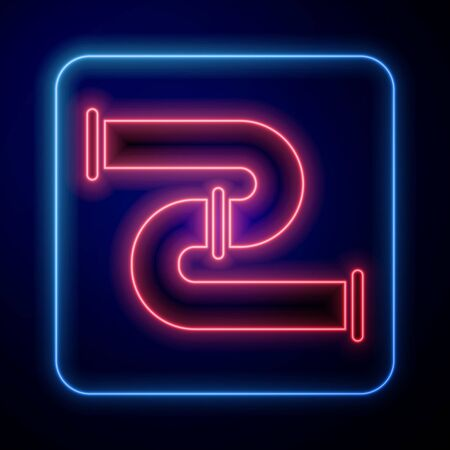 Glowing neon Industry metallic pipe icon isolated on blue background. Plumbing pipeline parts of different shapes. Vector Illustration