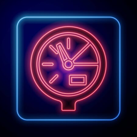 Glowing neon Water meter icon isolated on blue background. Vector Illustration