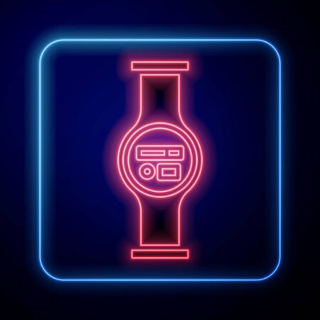 Glowing neon Water meter with pipeline icon isolated on blue background. Vector Illustration
