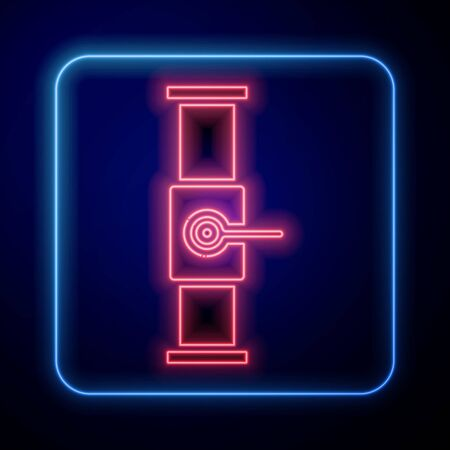 Glowing neon Industry metallic pipe and valve icon isolated on blue background. Vector Illustration