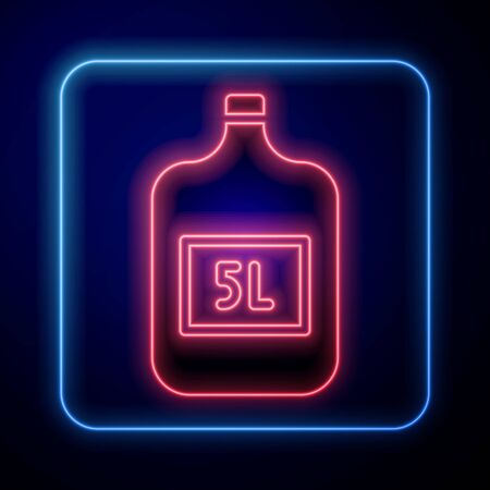 Glowing neon Big bottle with clean water icon isolated on blue background. Plastic container for the cooler. Vector Illustration