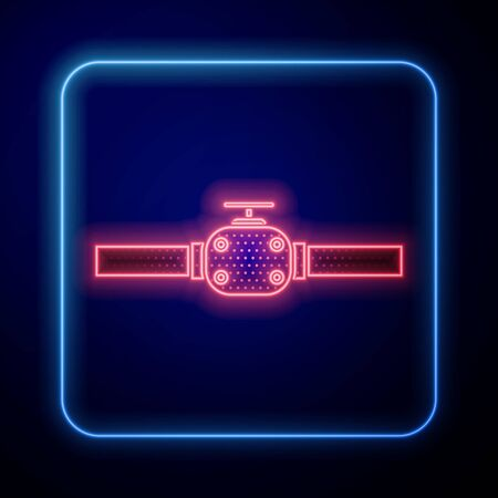 Glowing neon Industry metallic pipes and valve icon isolated on blue background. Vector Illustration