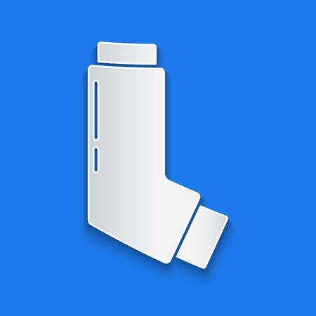 Paper cut Inhaler icon isolated on blue background. Breather for cough relief, inhalation, allergic patient. Medical allergy asthma inhaler spray. Paper art style. Vector Illustration Vectores