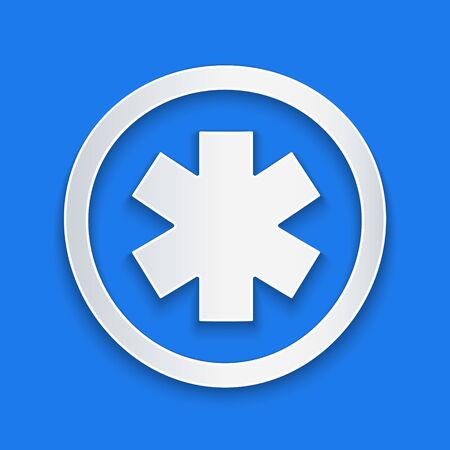 Paper cut Medical symbol of the Emergency - Star of Life icon isolated on blue background. Paper art style. Vector Illustration Иллюстрация