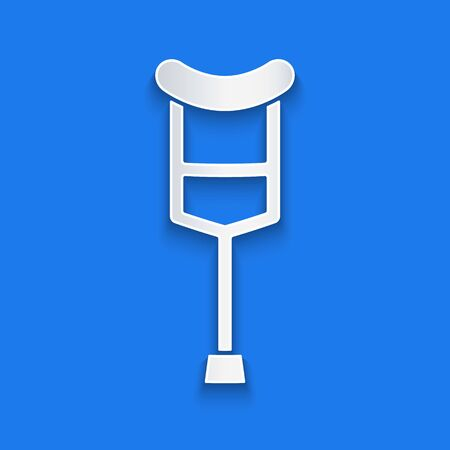 Paper cut Crutch or crutches icon isolated on blue background. Equipment for rehabilitation of people with diseases of musculoskeletal system. Paper art style. Vector Illustration Vectores