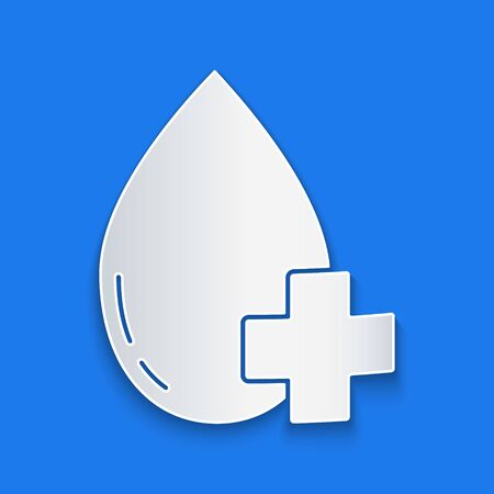 Paper cut Donate drop blood with cross icon isolated on blue background. Paper art style. Vector Illustration