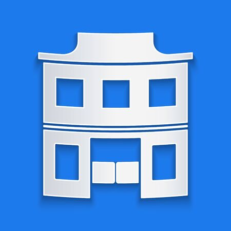Paper cut Wild west saloon icon isolated on blue background. Old west building. Paper art style. Vector Illustration