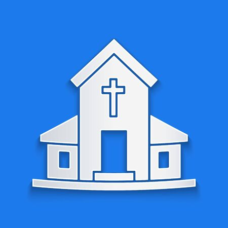 Paper cut Church building icon isolated on blue background. Christian Church. Religion of church. Paper art style. Vector Illustration