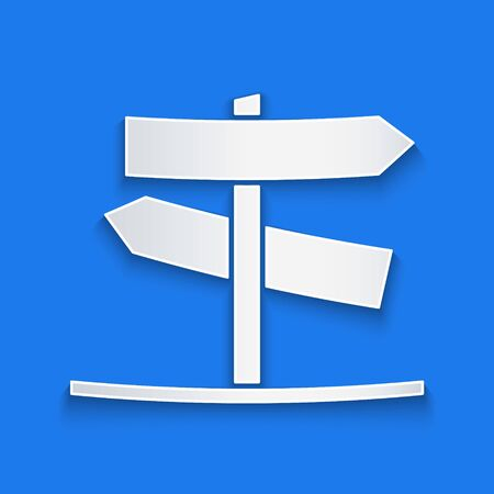 Paper cut Road traffic sign. Signpost icon isolated on blue background. Pointer symbol. Street information sign. Direction sign. Paper art style. Vector Illustration Çizim