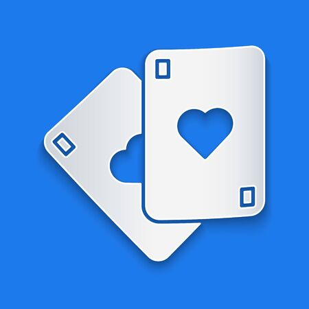 Paper cut Playing cards icon isolated on blue background. Casino gambling. Paper art style. Vector Illustration