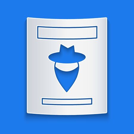 Paper cut Wanted western poster icon isolated on blue background. Reward money. Dead or alive crime outlaw. Paper art style. Vector Illustration Stock Illustratie