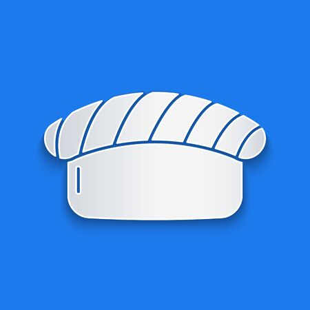Paper cut Sushi icon isolated on blue background. Traditional Japanese food. Paper art style. Vector Illustration