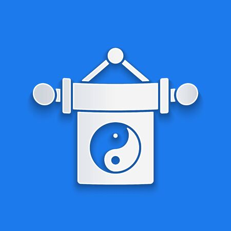 Paper cut Yin Yang symbol of harmony and balance icon isolated on blue background. Paper art style. Vector Illustration