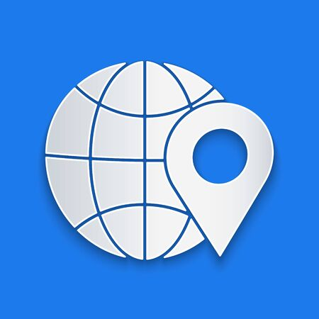 Paper cut Location on the globe icon isolated on blue background. World or Earth sign. Paper art style. Vector Illustration