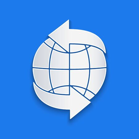 Paper cut Worldwide icon isolated on blue background. Pin on globe. Paper art style. Vector Illustration