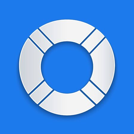 Paper cut Lifebuoy icon isolated on blue background. Life saving floating lifebuoy for beach, rescue belt for saving people. Paper art style. Vector Illustration