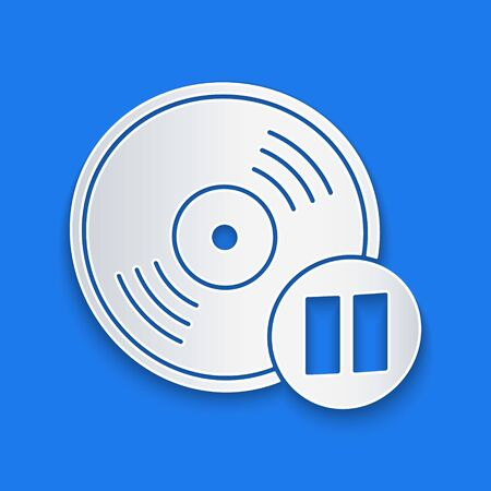 Paper cut Vinyl disk icon isolated on blue background. Paper art style. Vector Illustration