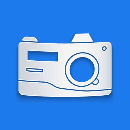 Paper cut Photo camera icon isolated on blue background. Foto camera icon. Paper art style. Vector Illustration