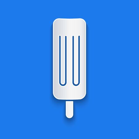 Paper cut Ice cream icon isolated on blue background. Sweet symbol. Paper art style. Vector Illustration Illustration