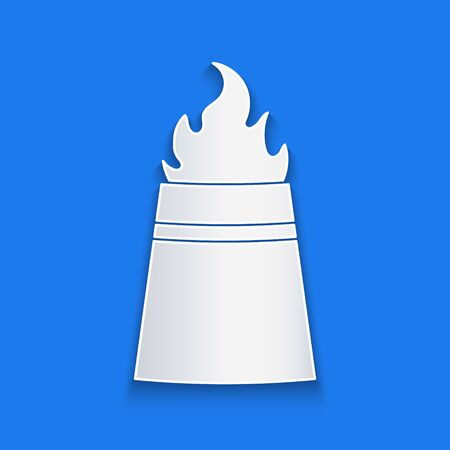 Paper cut Oil rig with fire icon isolated on blue background. Fire accident. Gas tower. Industrial object. Paper art style. Vector Illustration