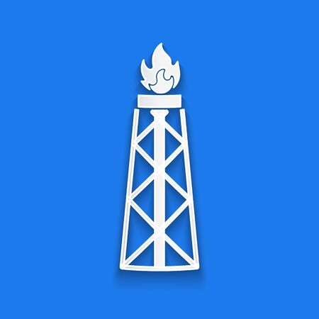 Paper cut Oil rig with fire icon isolated on blue background. Gas tower. Industrial object. Paper art style. Vector Illustration