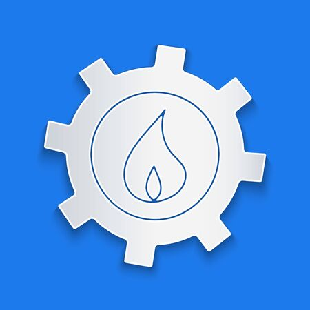 Paper cut Oil and gas industrial factory building icon isolated on blue background. Paper art style. Vector Illustration