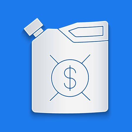 Paper cut Canister for motor machine oil icon isolated on blue background. Oil gallon. Oil change service and repair. Engine oil sign. Paper art style. Vector Illustration
