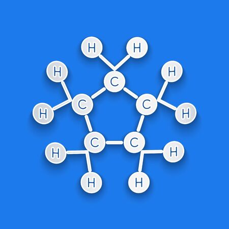 Paper cut Molecule oil icon isolated on blue background. Structure of molecules in chemistry. Paper art style. Vector Illustration Illustration