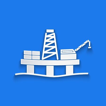 Paper cut Oil platform in the sea icon isolated on blue background. Drilling rig at sea. Oil platform, gas fuel, industry offshore. Paper art style. Vector Illustration Stock Illustratie