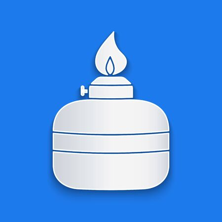 Paper cut Alcohol or spirit burner icon isolated on blue background. Chemical equipment. Paper art style. Vector Illustration