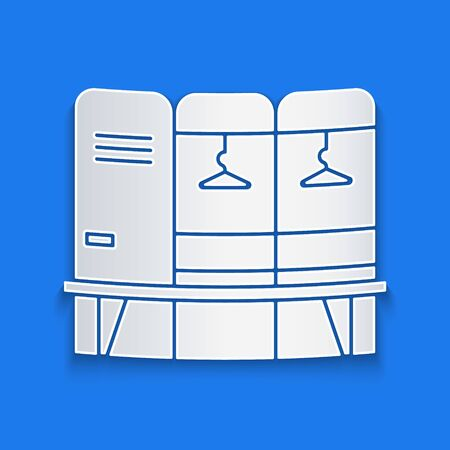 Paper cut Locker or changing room for hockey, football, basketball team or workers icon isolated on blue background. Paper art style. Vector Illustration Ilustração