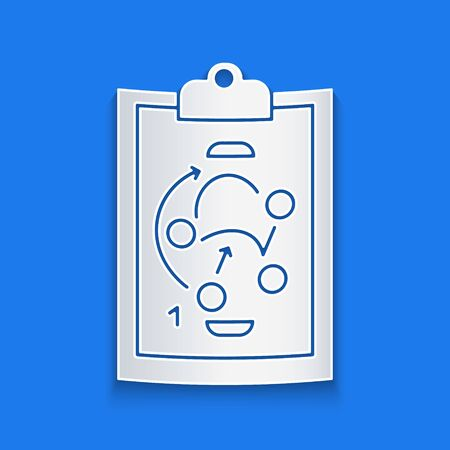 Paper cut Planning strategy concept icon isolated on blue background. Hockey cup formation and tactic. Paper art style. Vector Illustration