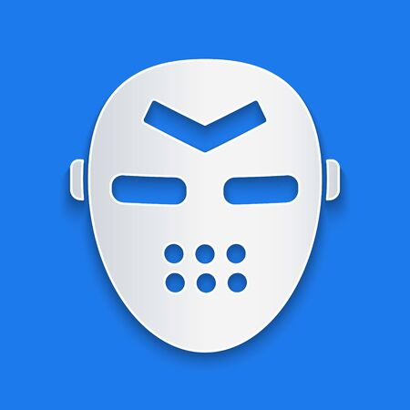 Paper cut Hockey mask icon isolated on blue background. Paper art style. Vector Illustration