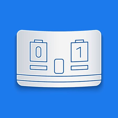 Paper cut Sport hockey mechanical scoreboard and result display icon isolated on blue background. Paper art style. Vector Illustration