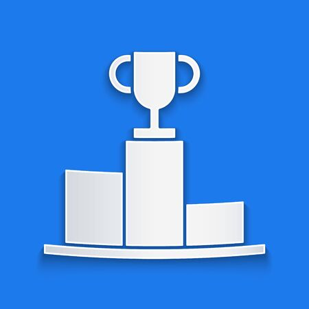 Paper cut Hockey over sports winner podium icon isolated on blue background. Paper art style. Vector Illustration
