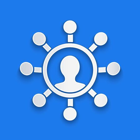 Paper cut Business network and communication icon isolated on blue background. Strong network marketing, influence, and leadership. Paper art style. Vector Illustration