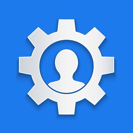 Paper cut Human with gear inside icon isolated on blue background. Artificial intelligence. Thinking brain sign. Symbol work of brain. Paper art style. Vector Illustration