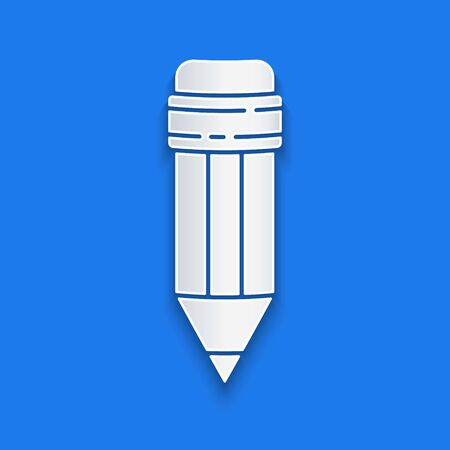 Paper cut Pencil with eraser icon isolated on blue background. Drawing and educational tools. School office symbol. Paper art style. Vector Illustration