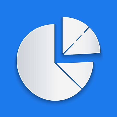 Paper cut Pie chart infographic icon isolated on blue background. Diagram chart sign. Paper art style. Vector Illustration Stock Illustratie