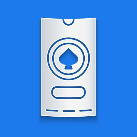 Paper cut Casino poker tournament invitation icon isolated on blue background. Casino card. Paper art style. Vector Illustration