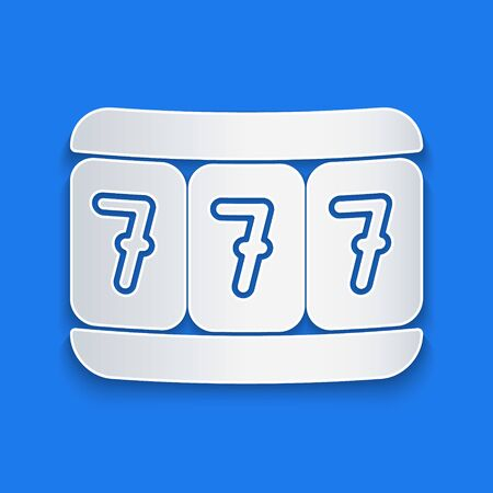 Paper cut Slot machine with lucky sevens jackpot icon isolated on blue background. Paper art style. Vector Illustration